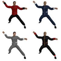 3d model rigged martial artist man