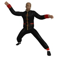 3d model rigged martial artist man