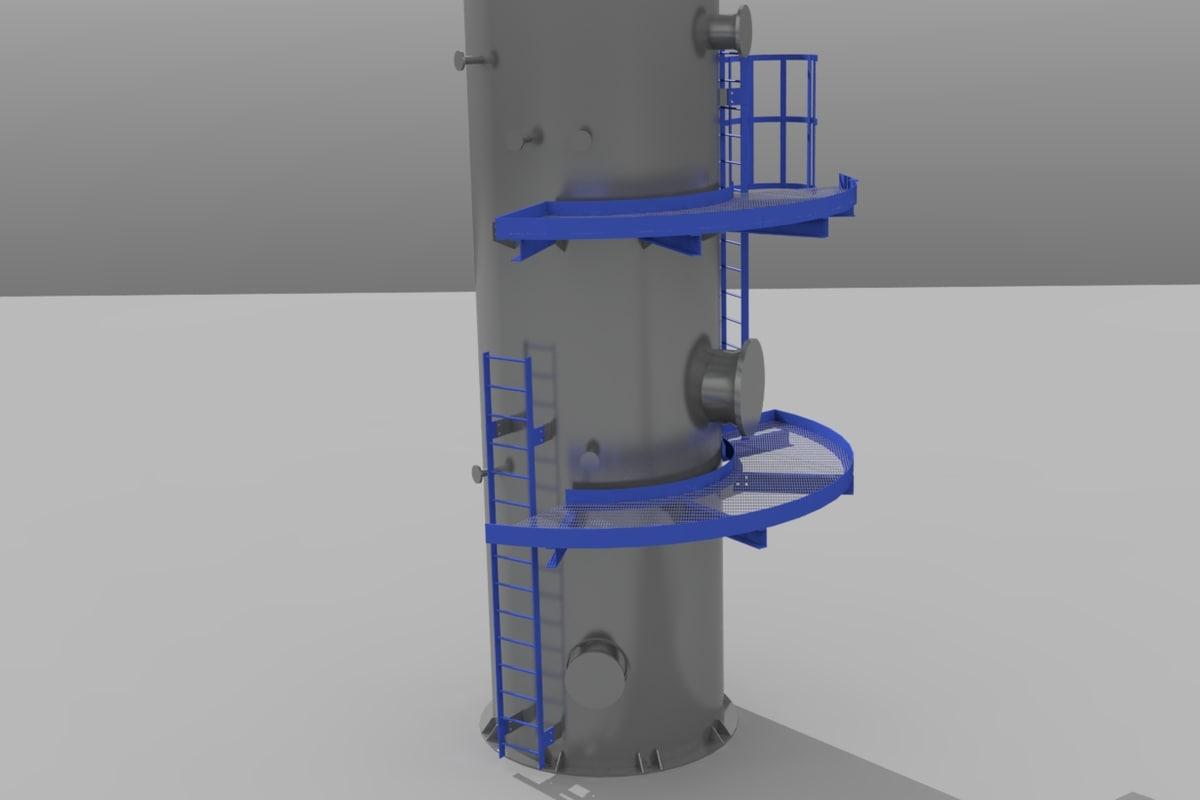 3d industrial equipment skid crane