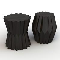3d origami taboret tables model