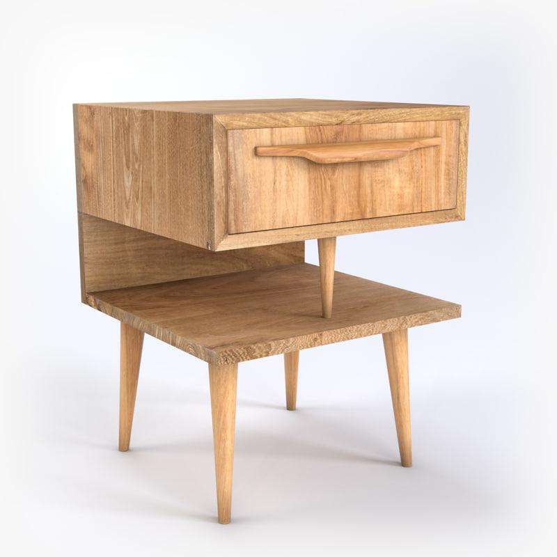 3d model modern bedside table