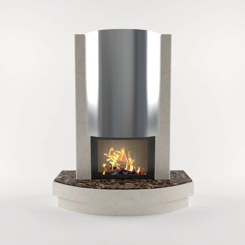 3d fireplace v-ray