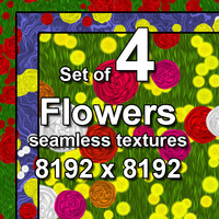 Flowers on Meadow 4x Seamless Textures