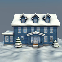 3d c4d house winter