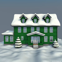 cinema4d house winter