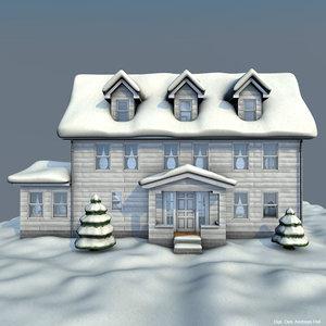 house winter 3d c4d