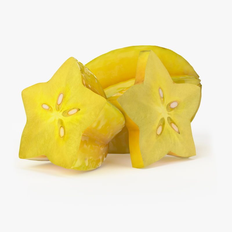 realistic starfruit real fruit 3d max