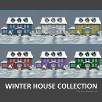 3d model of set houses winter