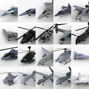 20 usaf aircrafts 3d model