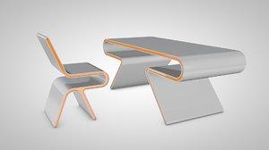 futuristic table chair 3d model