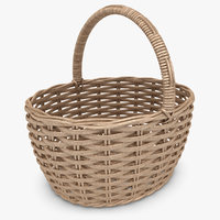 3d wicker basket antique brown model