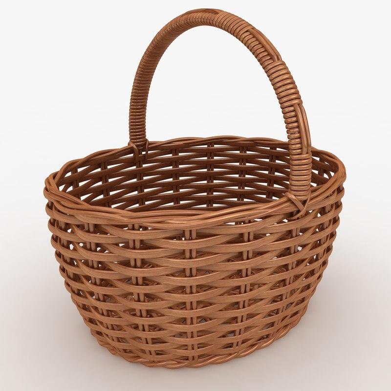 3d model realistic wicker basket cherry