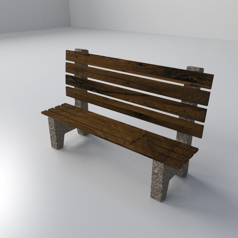3d model beach bench
