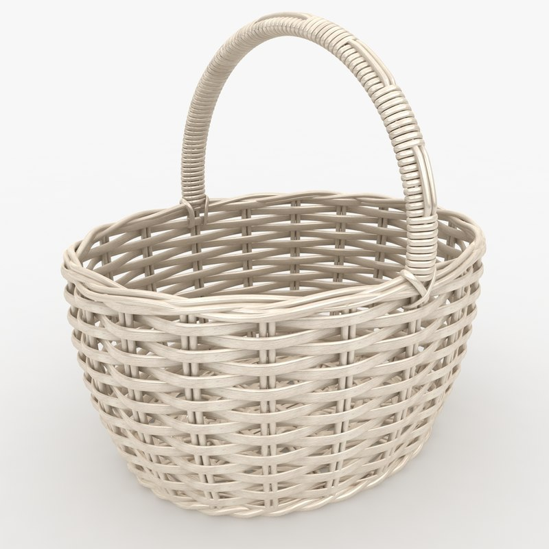 realistic wicker basket white 3d max
