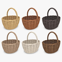 wicker basket set 6 3d model