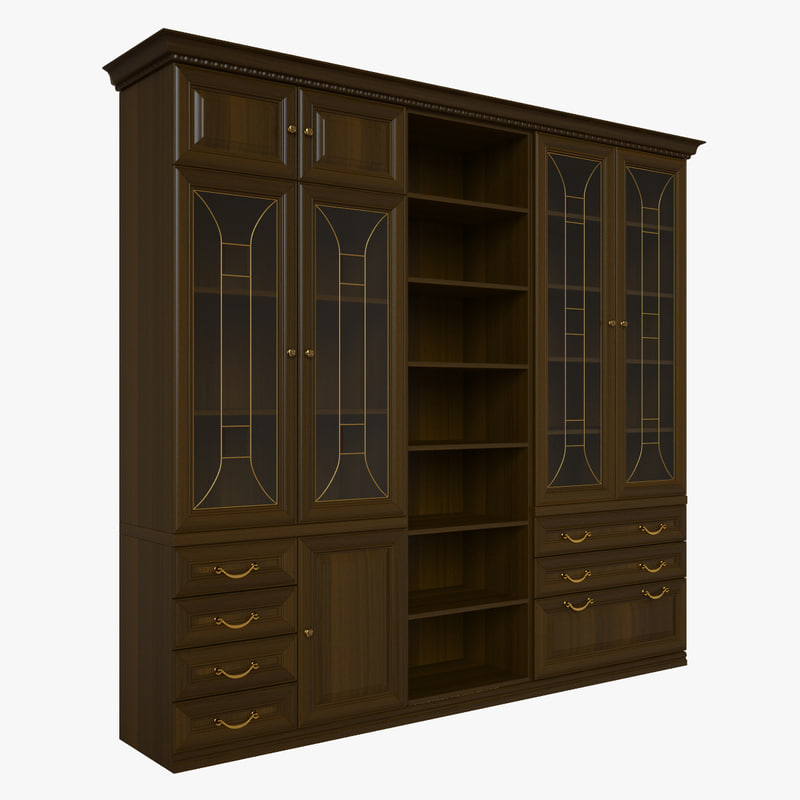 3d library wood model