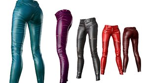 3d model female pants leather packed