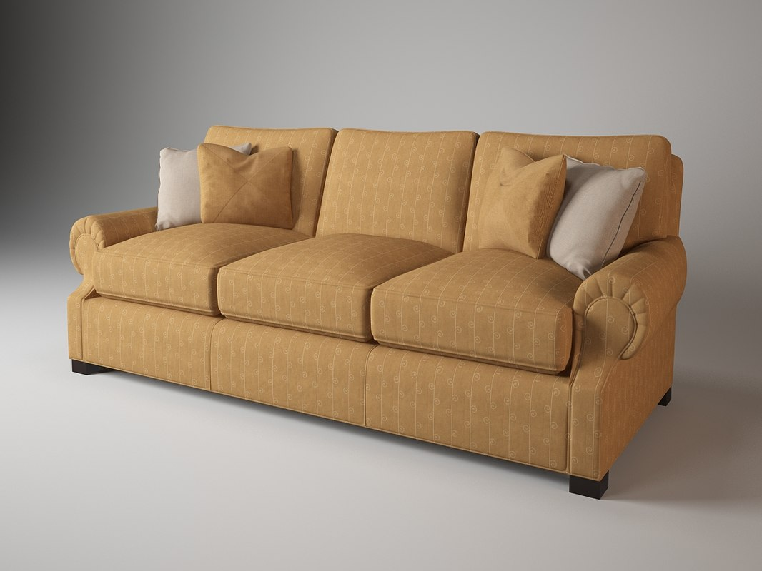 3d 829-90 rolled arm sofa