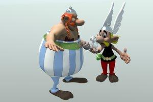 obelix asterix dogmatix 3d dxf