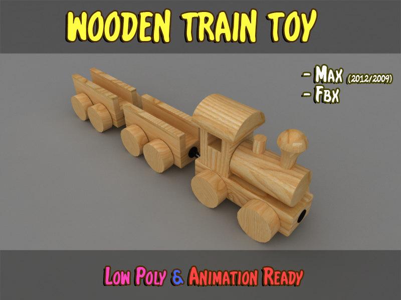 wooden train 3d max