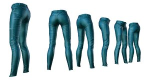 3d model female pants leather