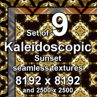 Kaleidoscopic Sunset 9x Seamless Textures, set #11