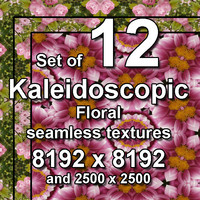 Kaleidoscopic Floral 12x Seamless Textures, set #12