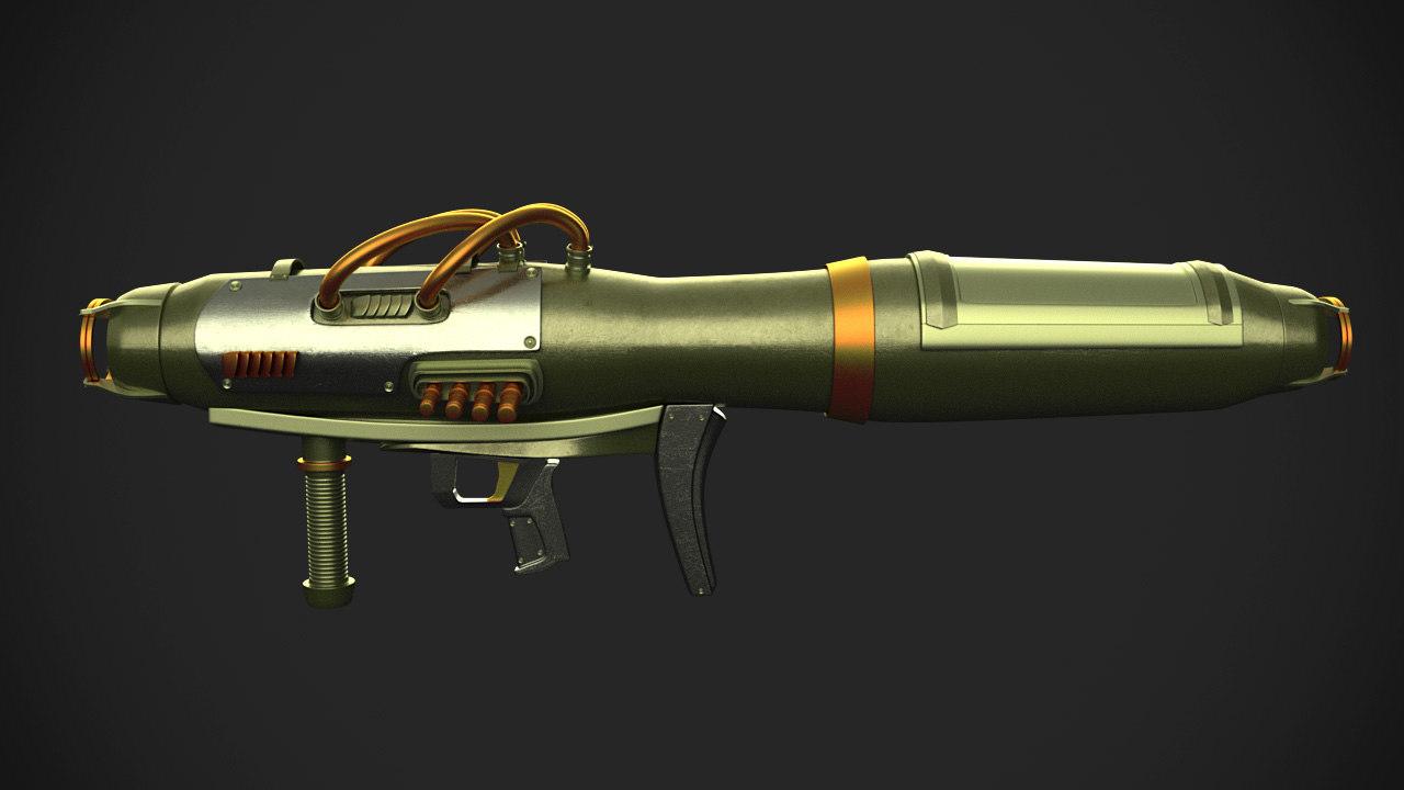 sci-fi rocket launcher 3d max