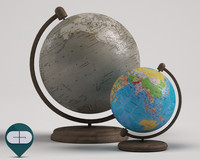 two geographical globes