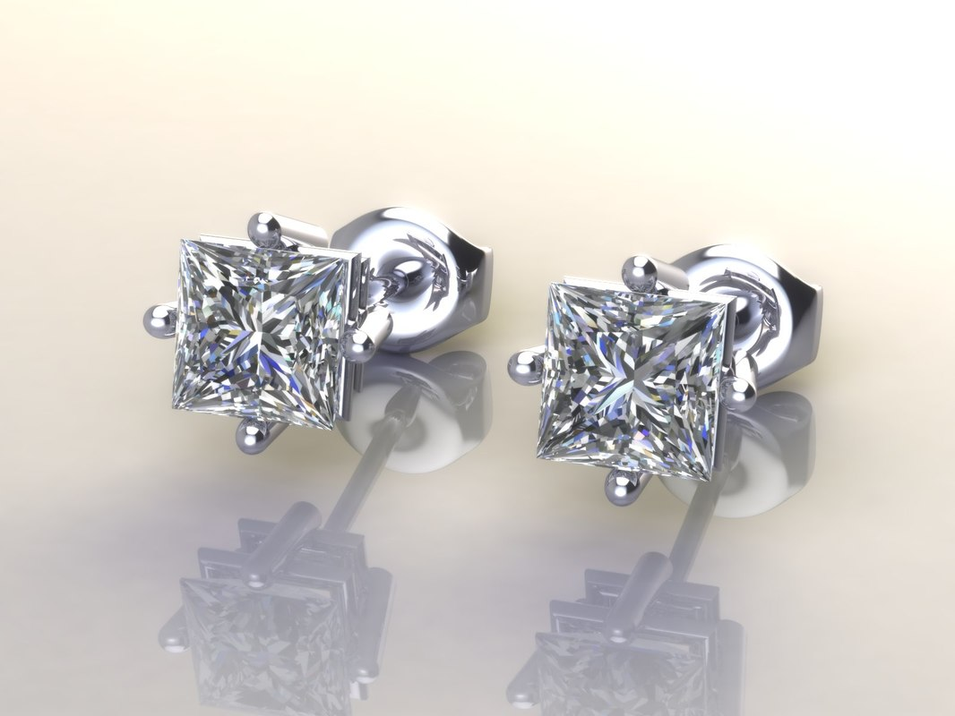 free 3dm mode earrings diamonds princess
