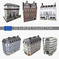 Photorealistic European Buildings City Set 3