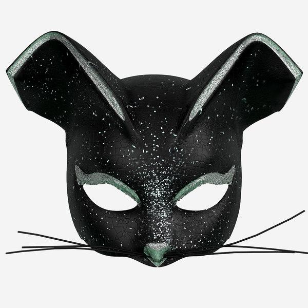3d model black cat mask