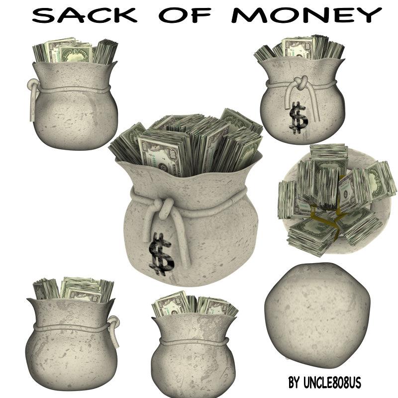 sack money 3d model