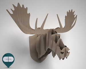 3d wooden moose head model