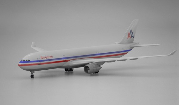 3d airplane airbus a330 american airlines model