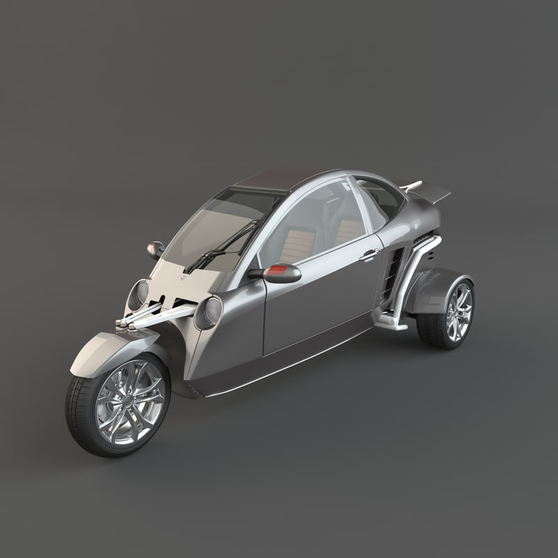 carver three-wheeled motorcycle 3d max