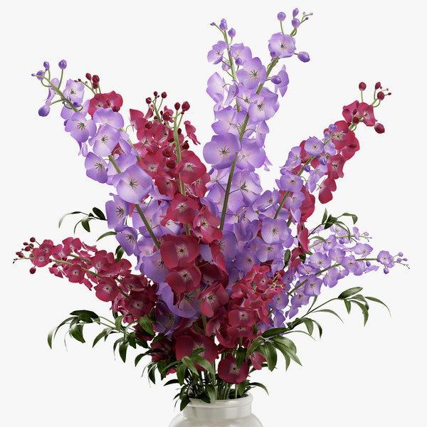 delphinium flowers vase 3d model