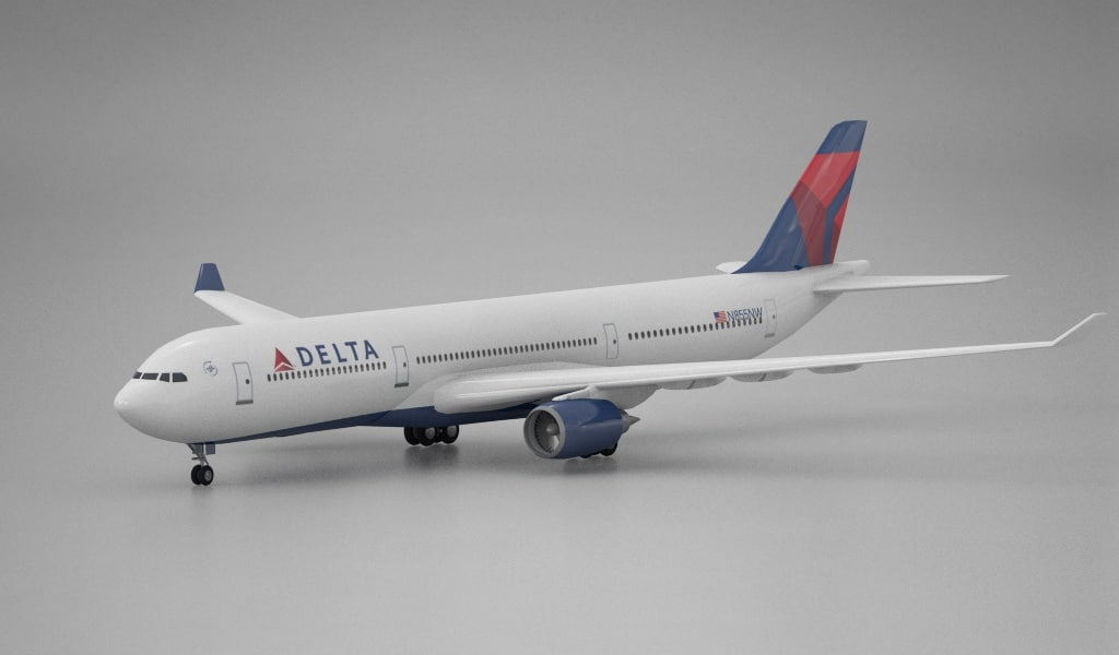 3d model of airplane airbus a330 delta