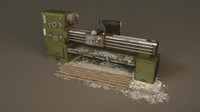 lathe machine green edition low poly