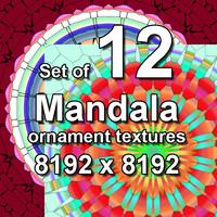 Mandala Ornament 12x Textures, set #2