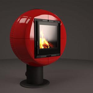 fireplace nordica fireball bianco 3d model