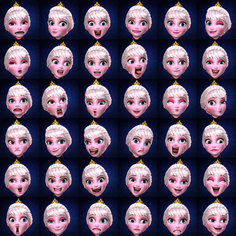 elsa face expressions 3d model rigged turbosquid