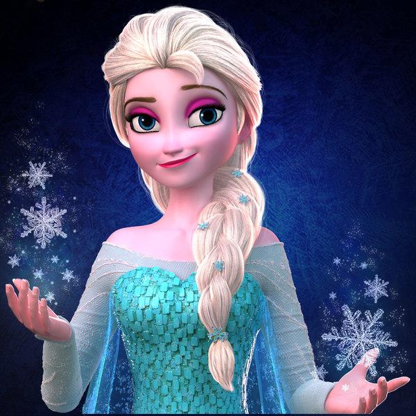elsa princess frozen 3d obj