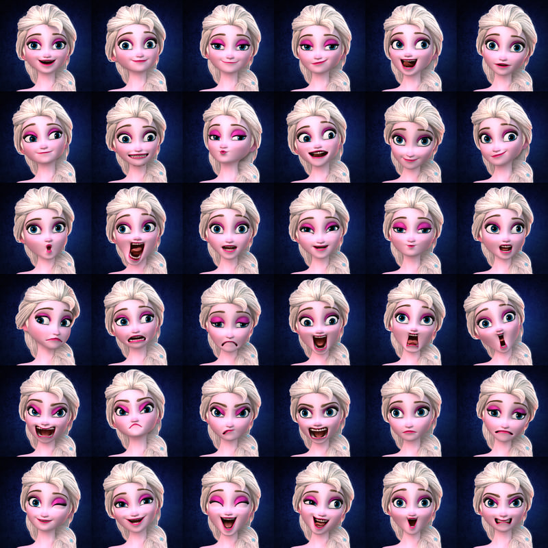 face expressions of ice queen Elsa Frozen rigged 3d model turbosquid