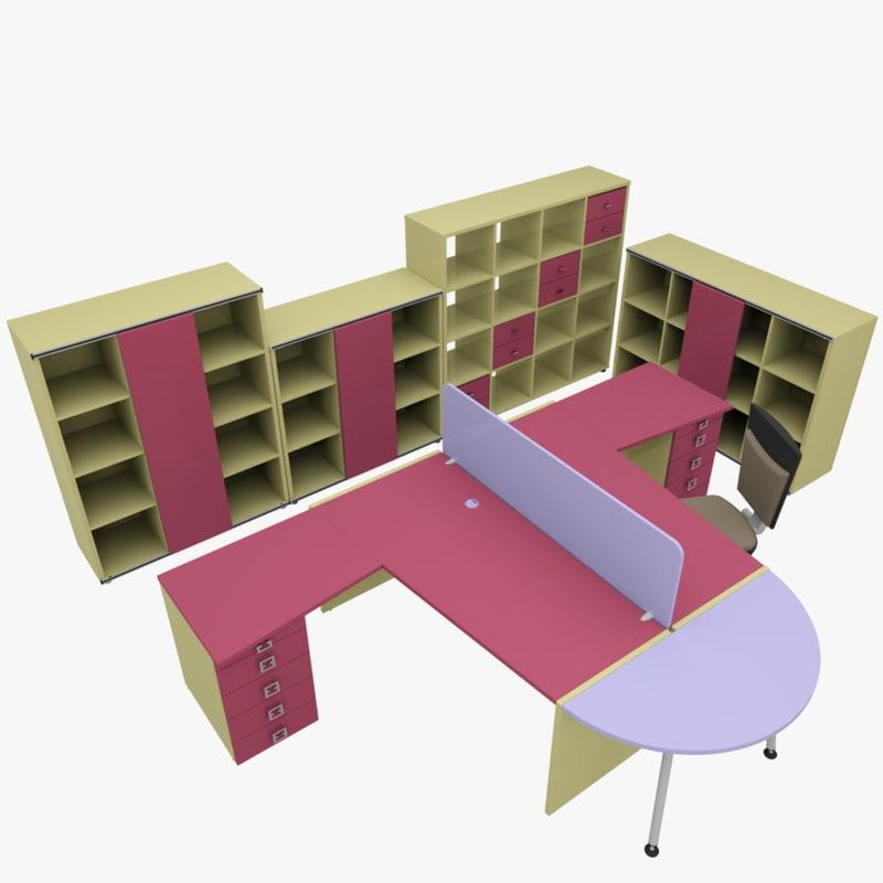 3d model of rack office table