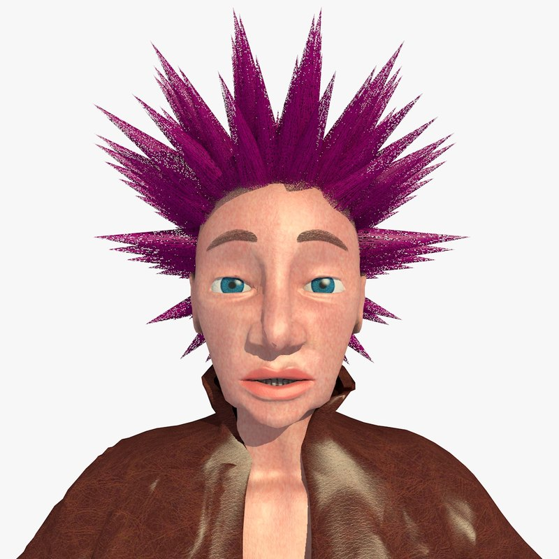 realistically punk jill female character 3d 3ds
