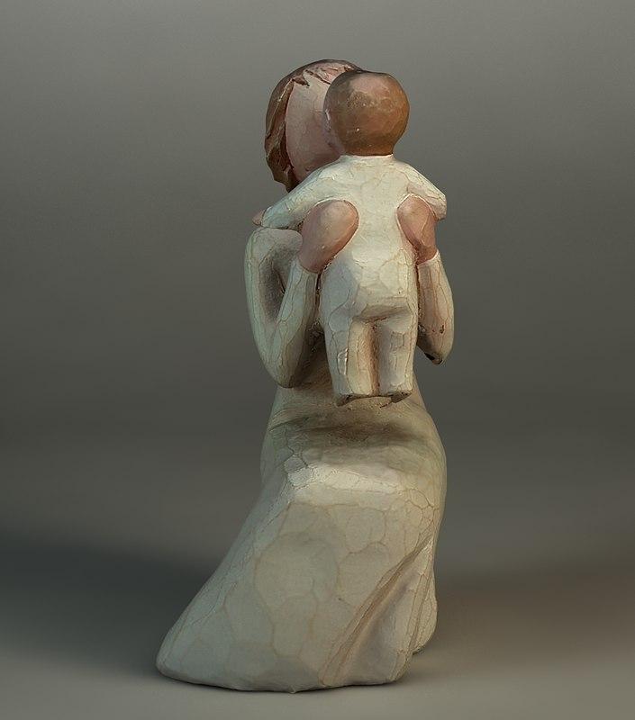figurine woman baby 3d model