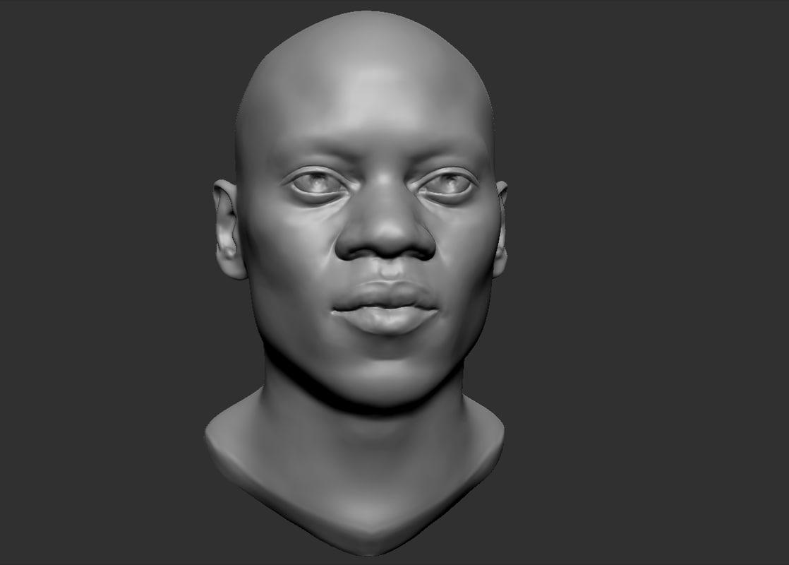 black man head 3d obj
