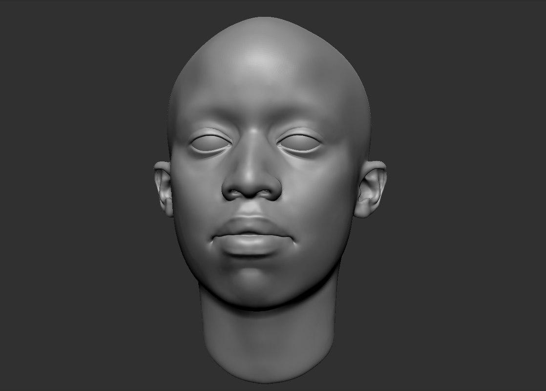 black head 3d obj