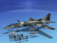 3d model mig-27 weapons aircraft
